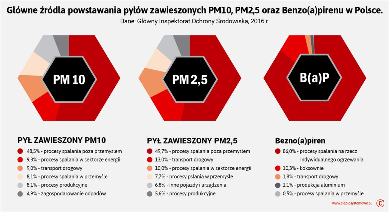 Główne polskie źródła pyłów PM2,5, PM10 i benzo(a)pirenu
