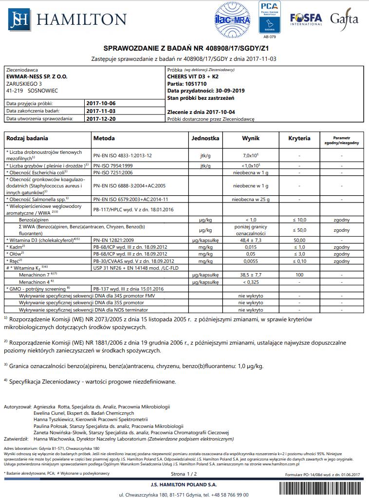 Witamina D3+K2 CHEERS Badania