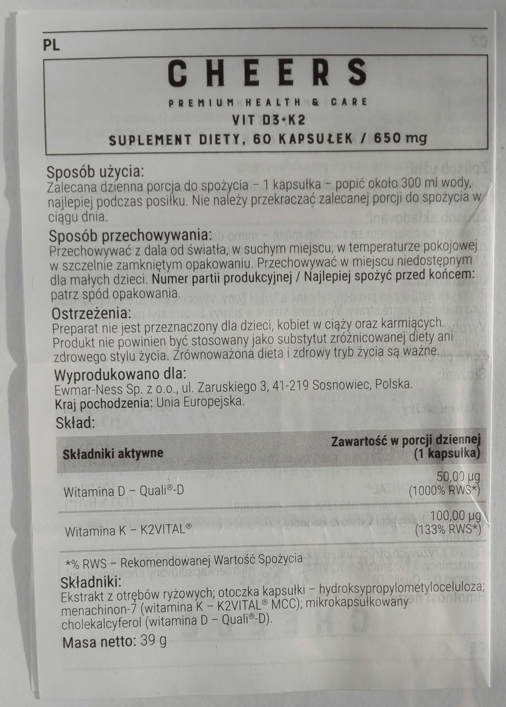 Witamina D3+K2 CHEERS Ulotka