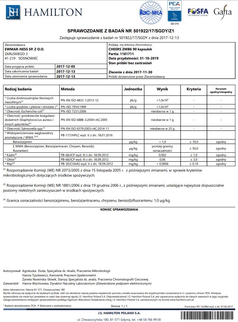 ZMB6 CHEERS badania