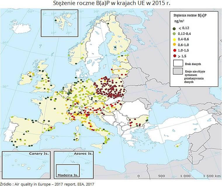 Stężenie roczne B(a)P w krajach UE w 2015 roku